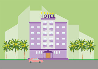 Colorful five-star hotel icon, sign, symbol building with palm trees on cityscape green background. Bright purple, violet, lilac color, beautiful colorful architecture. Vector illustration AI10.