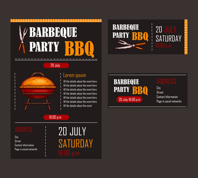 Set of vector illustrations of a bbq menu template, invitation card on a barbecue, gift certificate, a picnic ticket on a black background
