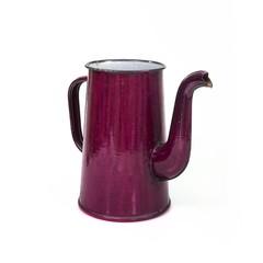Vintage metallic enameled coffee pot on a white background