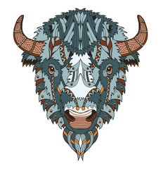 American buffalo head zentangle stylized, vector, illustration, freehand pencil, hand drawn, pattern. Zen art. Ornate vector. Lace. Coloring.