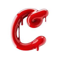 Leaky red alphabet isolated on white background. Handwritten cursive letter C.