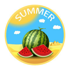 Summer sticker. Realistic watermelon with slices. Travel concept. Vector illustration