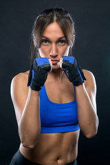Brunette young woman with gloves