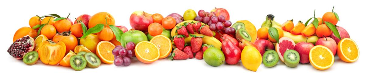 Foto auf Acrylglas Fruchte Panoramic wide photo of fresh fruit for skinali isolated on white