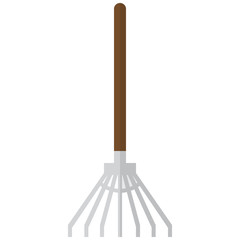 Garden leaf rake icon, vector illustration flat style design isolated on white. Colorful graphics