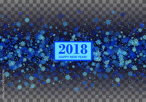 2018 happy new year border with blue repeated snowflakes on black transparent checkered background all