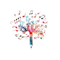 Music pencil tree design. Colorful pencil tree vector illustration with music notes isolated