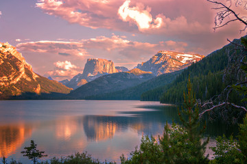 Sunset glow on Square Top Mountain above the Green River Lakes, Bridger National Forest, Wyoming