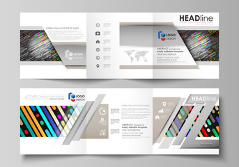 Set of business templates for tri fold square design brochures. Leaflet cover, easy editable vector layout. Colorful background with stripes. Abstract tubes and dots. Glowing multicolored texture.