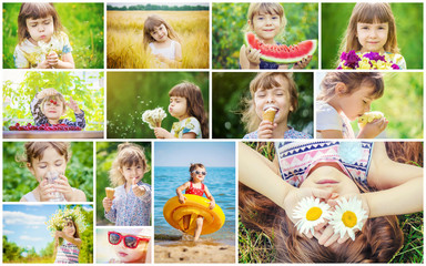 Children's collage summer photos.