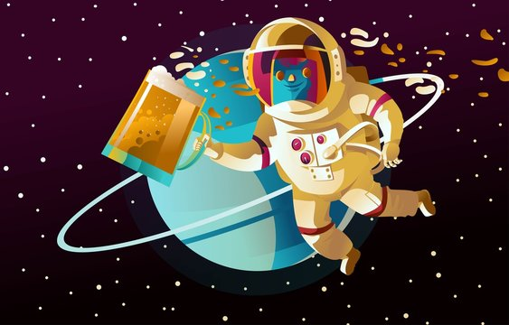 space astronaut drinking beer on a planet