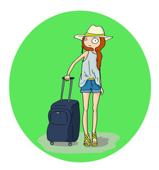 Pretty girl with luggage in the airport or railway station