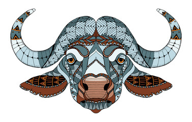 African buffalo head zentangle stylized, vector, illustration, freehand pencil, hand drawn, pattern. Zen art. Ornate vector. Lace. Color.