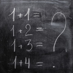 Arithmetic examples, written in chalk on old blackboard