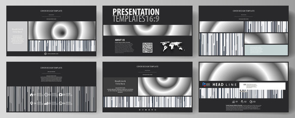 Business templates in HD format for presentation slides. Easy editable abstract vector layouts in flat design. Simple monochrome geometric pattern. Minimalistic background. Gray color shapes.