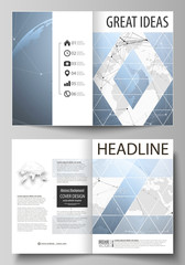 The vector illustration of the editable layout of two A4 format modern cover mockups design templates for brochure, magazine, flyer. World globe on blue. Global network connections, lines and dots.