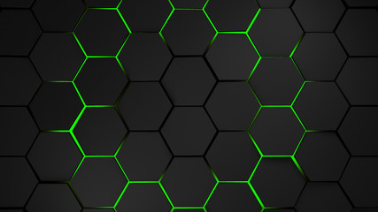 grey and green hexagons modern background illustration
