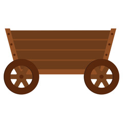 Wooden cart flat cartoon icon. Wagon vector illustration for design and web isolated on white background. Wooden cart vector object for labels, logos and advertising