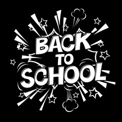 Back to school black and white illustration. Comic retro monochrome alphabet. Halftone background and decorative elements.