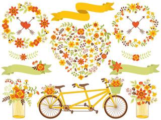Vector Romantic Autumn Floral Set.