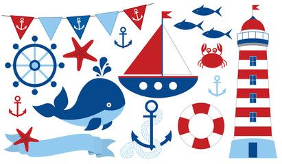 Vector Nautical Set. Marine Life Vector Illustration.