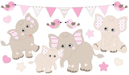 Cute Elephants Set. Vector Elephant Illustration for Baby Girl Shower. Vector Baby Elephant.