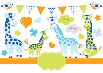 Vector Set for Baby Boy Shower. Baby Giraffe Vector Illustration.