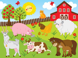 Vector Set with Farm Animals. Farm Animals Vector Illustration.
