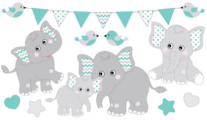 Cute Elephants Set. Vector Elephant Illustration for Baby Boy Shower. Vector Baby Elephant.
