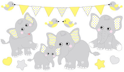 Cute Elephants Set. Vector Elephant Illustration for Baby Shower. Vector Baby Elephant.