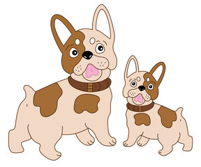 Vector Cute French Bulldog with Puppy. Vector Dog. Frenchie Vector Illustration.