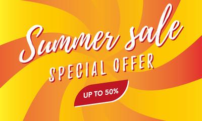 Summer sale banner. Special offer. Vector illustration.