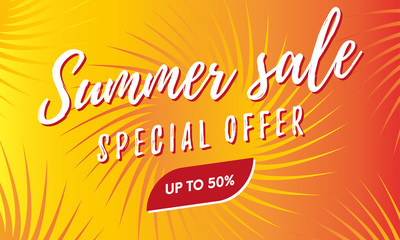 Summer sale banner. Special offer. Fifty percent off. Vector.