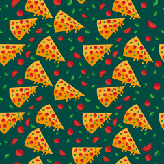 Pizza slices wallpaper pattern with vegetables. Vector.