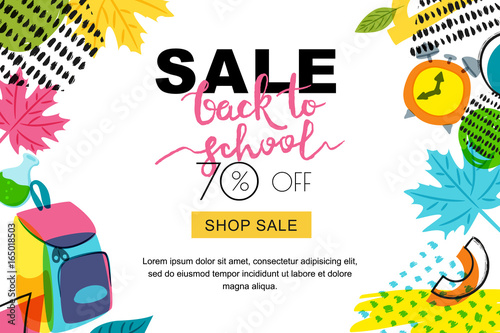 Vector back to school sale banner, poster background  Hand