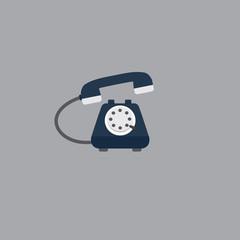 Vintage Telephone. Flat Design of Blue Telephone. Telephone service Illustration