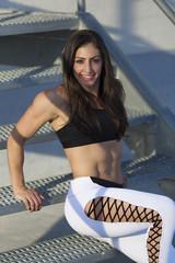 Brunette female fitness model