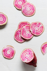 raw candy striped beets