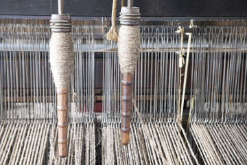 Yarn on loom in textile mill