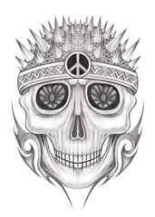 Art punk skull tattoo.Hand pencil drawing on paper.