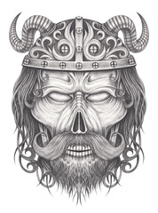 Art viking skull.Hand pencil drawing on paper.