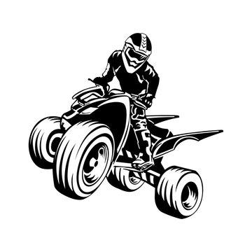 quad bike silhouette, ATV logo design on a white background.