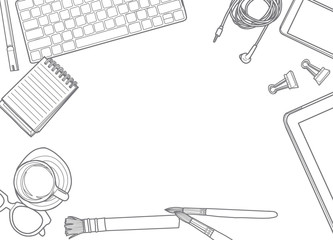 Hand Drawn Vector Illustration ,Top view of office supplies and gadgets on a table background. View from above.with space for text
