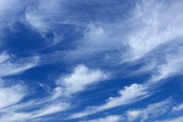 Синее небо и белые облака.