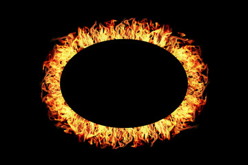 ellipse fire frame isolated on black