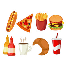 Colorful icons with fast food meals isolated set.