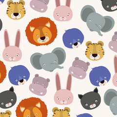 white background pattern with set color face cute animals vector illustration
