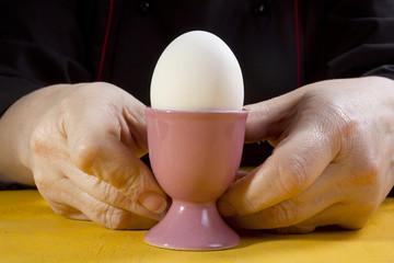 Boiled egg in the holder