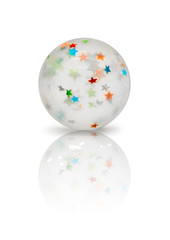 Transparent rubber ball with colorful stars inside isolated on white