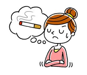 タバコを我慢する女性